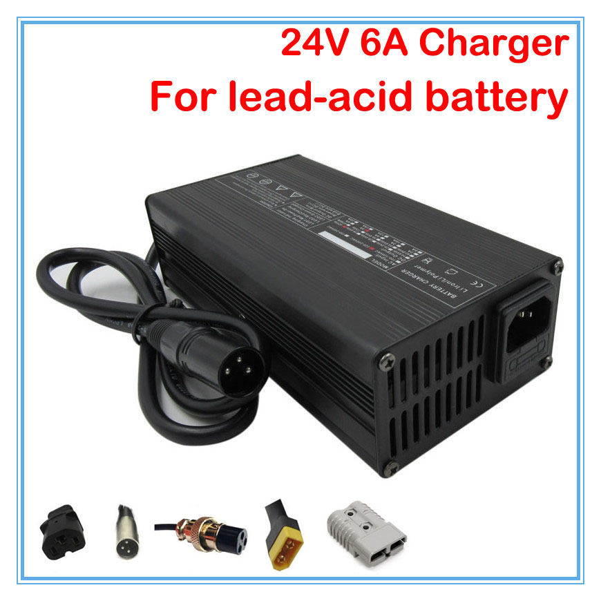 180W 24V 6A lead acid battery charger with Aluminum Case For 24V electric scooter wheelchair golf
