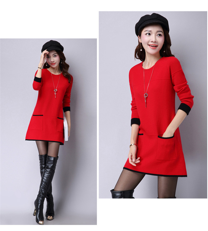 Knitted Long-Sleeve Casual Vestido 18
