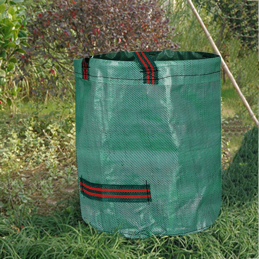 272L Reusable Heavy Duty Garden Waste Bag PP Rubbish Leaves Grass Refuge Sacks Green Color Garden Supplies Green