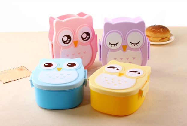 Cartoon Food Fruit Storage Container food container Owl Portable Bento Lunch Box Plastic Cute