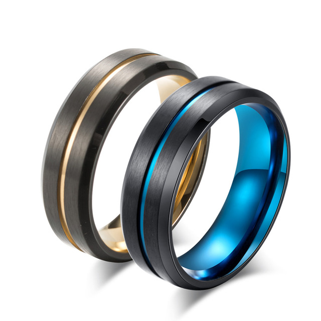 2018 New Titanium Matte Black Mens Ring Double Color Ring Blue/Gold Color Thin L