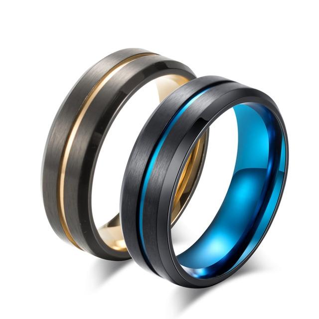 2018 New Titanium Matte Black Mens Ring Double Color Ring Blue/Gold Color Thin L