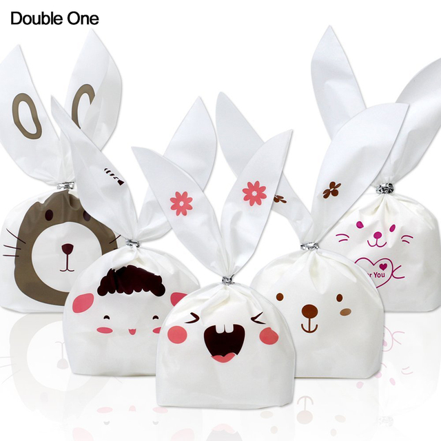 Aliexpress buy 100pcs halloween bunny candy bags easter gift 100pcs halloween bunny candy bags easter gift bags rabbit ear biscuit cake food packaging for party negle Images