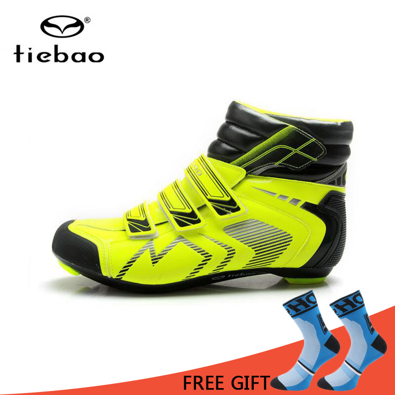 Tiebao Men High Ankle Road Cycling Shoes Winter Warm Bicycle Boots Bike Athletic Racing Self Locking