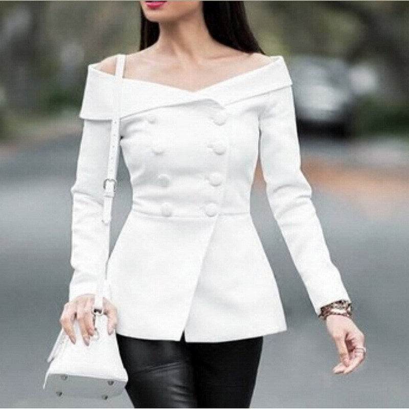 Spring 2018 New Women Suit with A Thin Body A Small Suit Coat Sexy Shoulder Lapel Long Sleeved Jacket Fashion OL Commute Black