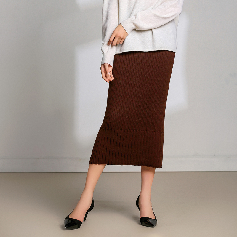 LHZSYY 2019 Spring and Autumn New Women 39 s Wool Knit Skirt Solid Color Casual Joker Bag Hip Slim High Waist Outer Hot Sale Skirt in Skirts from Women 39 s Clothing