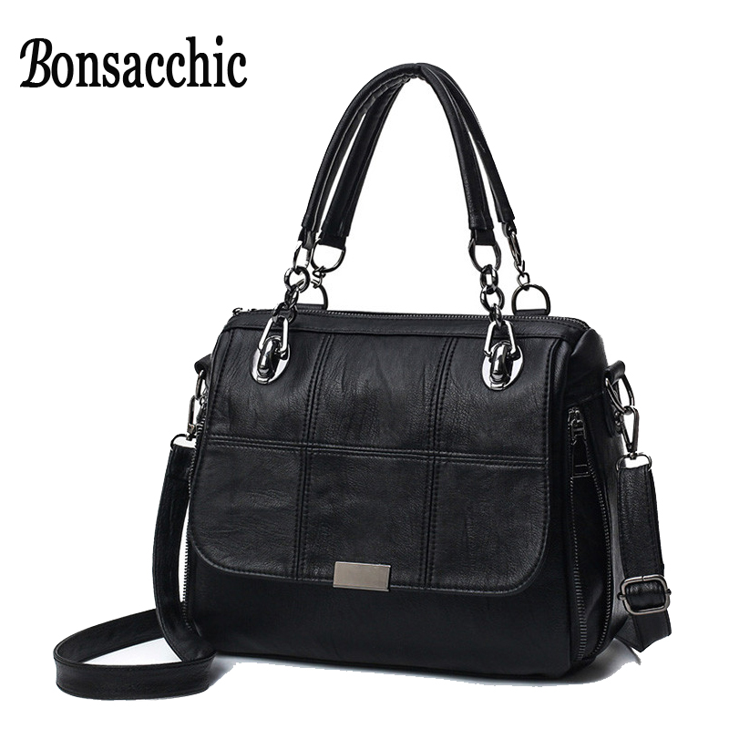 Bonsacchic Black Women's Bags Sale Designer Women Handbags High Quality Shoulder Bag Female Leather Handbag Straps bolso mujer