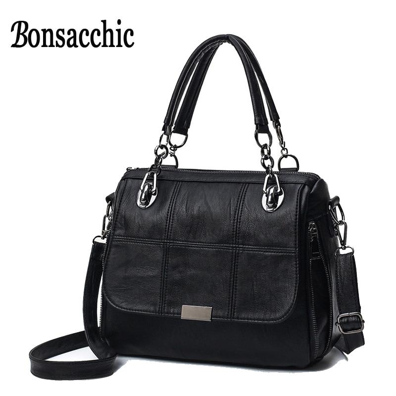 Bonsacchic Black Women's Bags Sale Designer Women Handbags High Quality Shoulder Bag Female Leather Handbag Straps bolso mujer