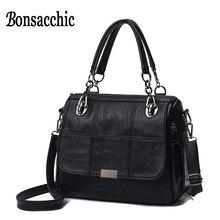 Bonsacchic дизайнер Для женщин Сумки высокое качество Женские сумки распродажа черная сумка женская кожаная сумка Бретели для нижнего белья Bolso Mujer