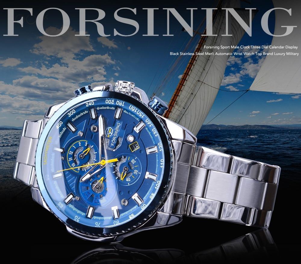 HTB1lMS9J4YaK1RjSZFnq6y80pXal Forsining Blue Ocean Design Silver Steel 3 Dial Calendar Display Mens Automatic Mechanical Sport Wrist Watches Top Brand Luxury