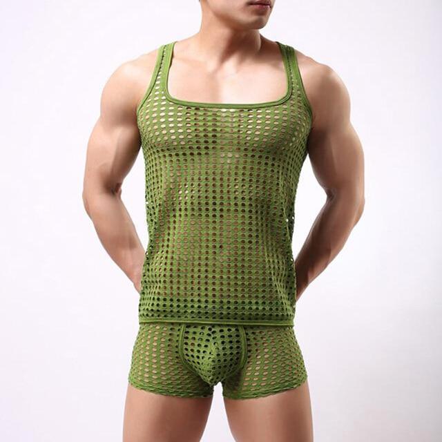 f2d1d2bc2594e sexy tank top men fashion sexy gay male shorts Cute underpants set  underwear Mesh net undershirts