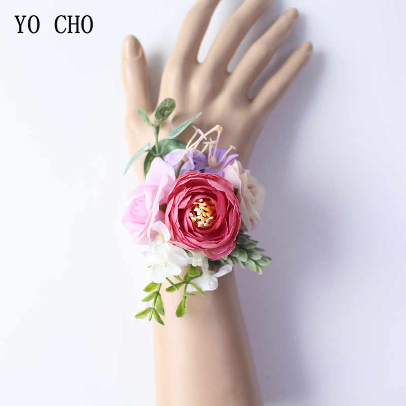 Yo Cho Fatti a Mano di Seta Falso Rosa da Polso Fiori per La Damigella D'onore Corsage Polso Braccialetto Sposo Boutonniere Corpetto Accessori da Sposa