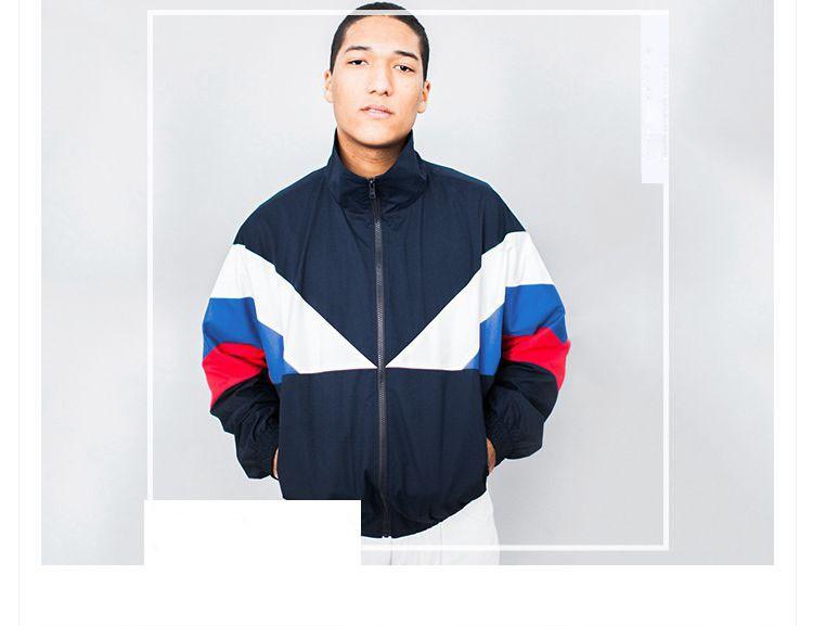 Men Jacket Gosha Rubchinskiy Classic Navy Tricolor Sport Long sleeve Windbreaker Jackets Hiphop Skateboards Couples Outwear S-XL (8)