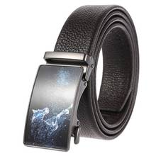 Mens Leather Belts for Men Genuine Ratchet Belt Automatic Buckle Wide:35mm