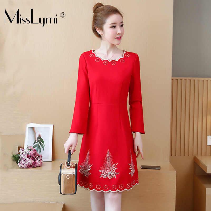 dbd1fc870a9a L-5XL Plus Size Ladies Dress Spring Winter 2019 Korean Fashion Long Sleeve  Flower Embroidery
