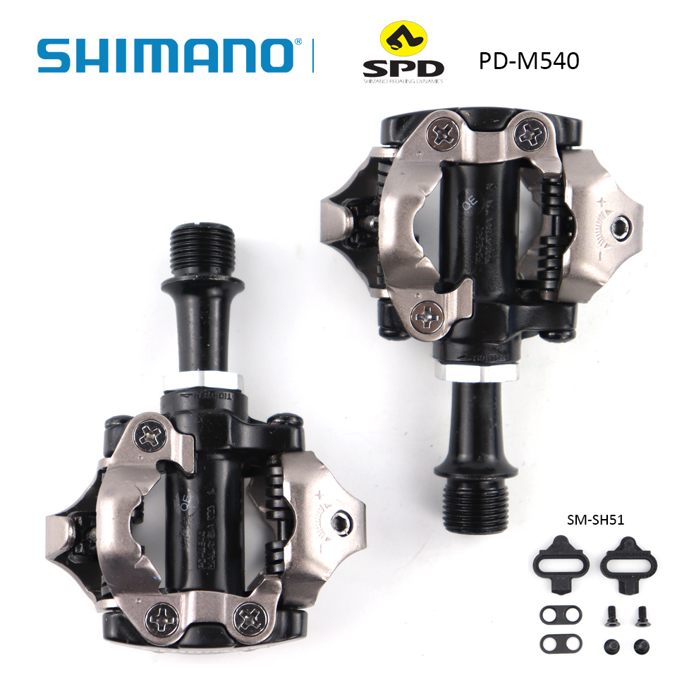 все цены на SHIMANO PD M540 PD-M540 SPD Pedal Chrome-moly & Aluminum Compact MTB Bike Bicycle Cycling Self-Locking Pedal Wit SM-SH51 Cleats онлайн