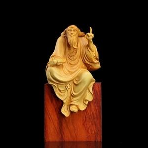 Laozi miniature figurines Lobular wood statue wall decors ornaments home Zen collection art Preaching Art(China)