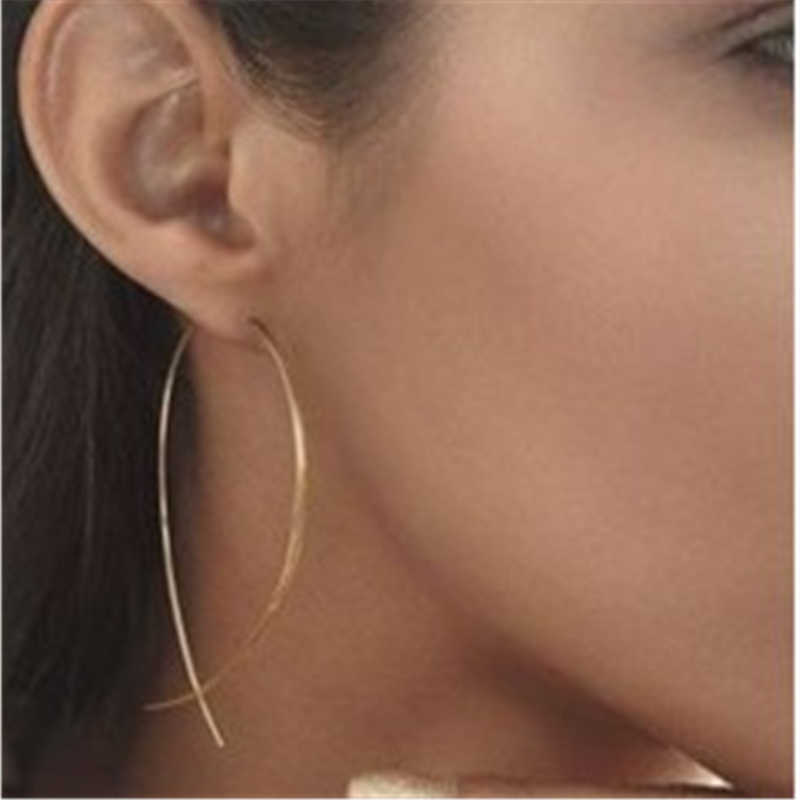 New Exaggerated Simple line Big Drop Earrings for Women Double Round Circle Pendant Long Earrings Brincos Jewelry gift