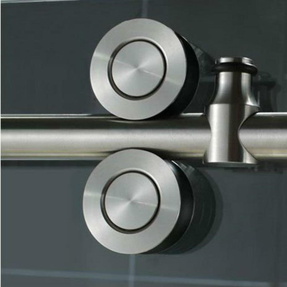 5ft Brushed Stainless Steel Sliding Barn Shower Door Twin