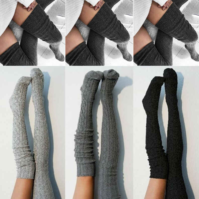 2019 แฟชั่นผู้หญิงถุงน่องกว่าเข่าถุงเท้ายาว Boot ถักต้นขาสูงสีกากีสีเทาอ่อนสีเทาเข้มสีดำ Soft ถุงน่อง