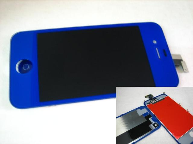 Replacement Full Front LCD Display with Touch Screen + Back Cover For iPhone 4S 4GS Dark Blue