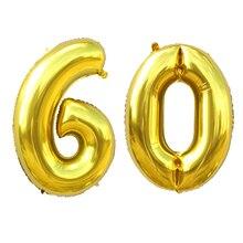 40 inch Gold/Silber Anzahl Ballons 10 20 30 40 50 60 70 80 90 Jahre Jahrestag Tag Aluminium folie Luftballons Party DIY Dekoration