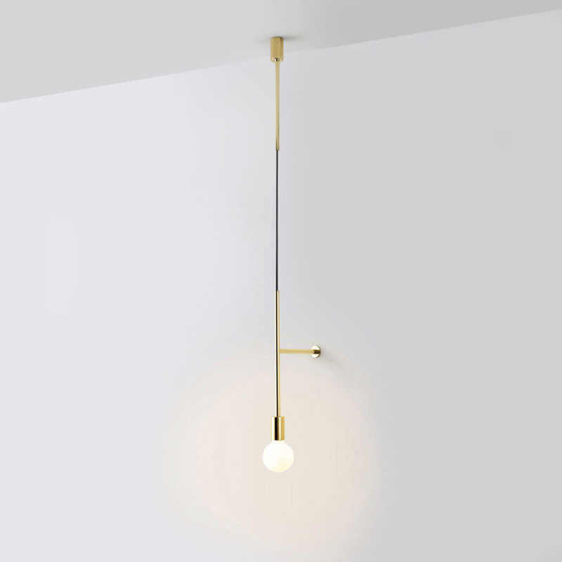 Nordic Style Golden Simple Wall Lamp The Study Bedroom Bedside Led Creative Modern Personality Line Exhibition hall Art