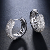 Excellent 16 mm diameter silver hoop earring micro pave bright CZ jewelry 925 Sterling silver circle earrings for statement