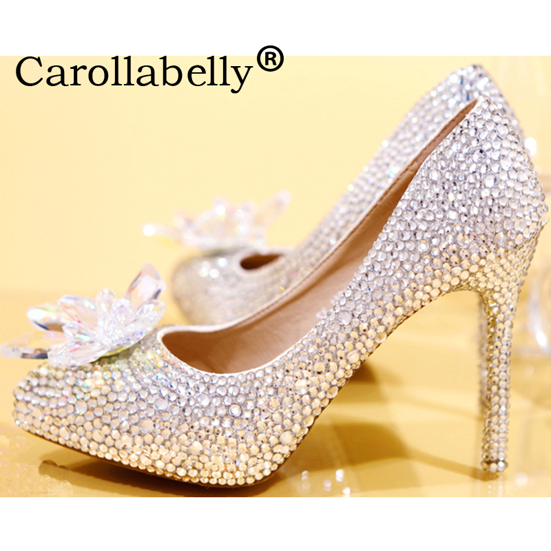 Women Rhinestone High Heels Cinderella Shoes Women Pumps Pointed toe Woman Crystal Wedding Shoes цена 2017