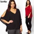 ChoiceShine Women's Shirt Batwing Sleeve Casual Chiffon Three Quarter V-neck Solid Women Blouses Woman Tops Summer Plus Size 6XL