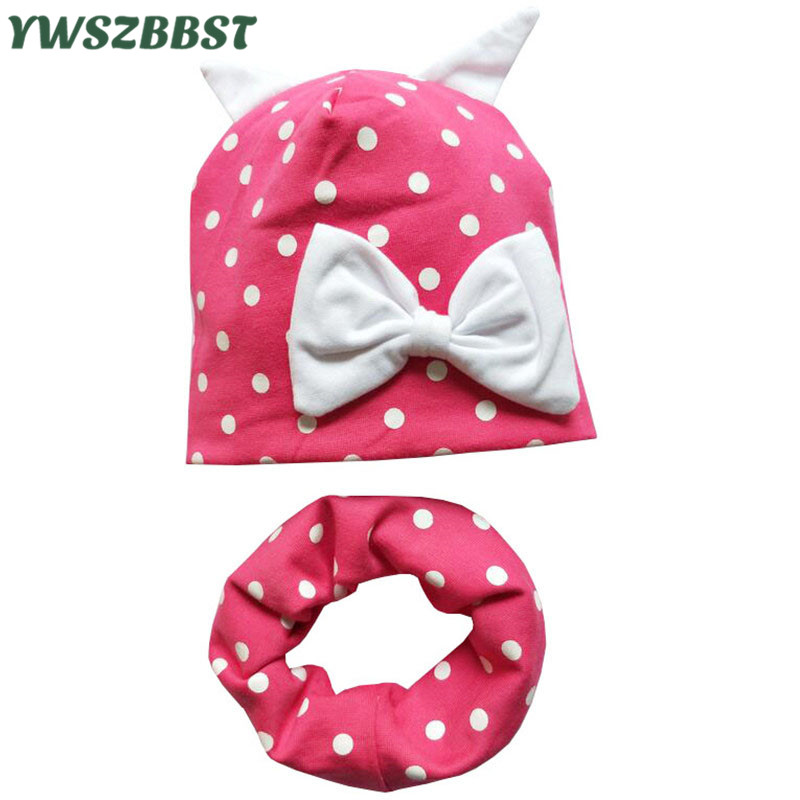 New Fashion Baby Hat with Scarf Cute Bear Ear Dots Bowknot Caps Warm Kids Cap for Boys and Girls Child