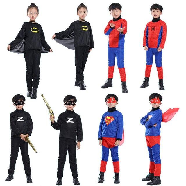 Baixo preço purim desempenha o traje spiderman batman superman trajes de halloween para crianças capas de super-heróis cosplay anime traje