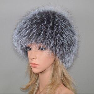 Image 3 - 2020 New Women Winter Real Fox Fur Hat Elastic Warm Soft Fluffy Genuine Fox Fur Cap Luxurious Quality Real Fox Fur Bomber Hats