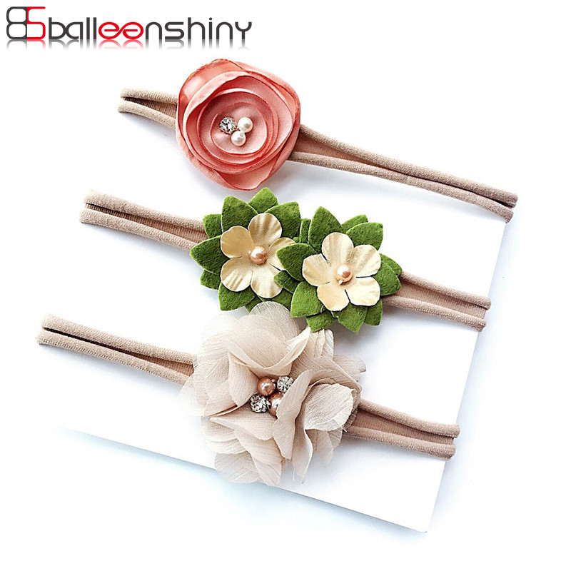 BalleenShiny 3PCS Baby Girls Flower Headband Set Infant Bowknot Lovely Headwear Gift Children Kids Princess Band Hair Accessory plain headband 3pcs