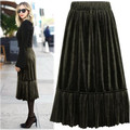 Kesebi 2017 New Hot Fashion Female Casual Velour Soft Simple Bottoms Women European High-waisted Mid-calf Pleated Skirts