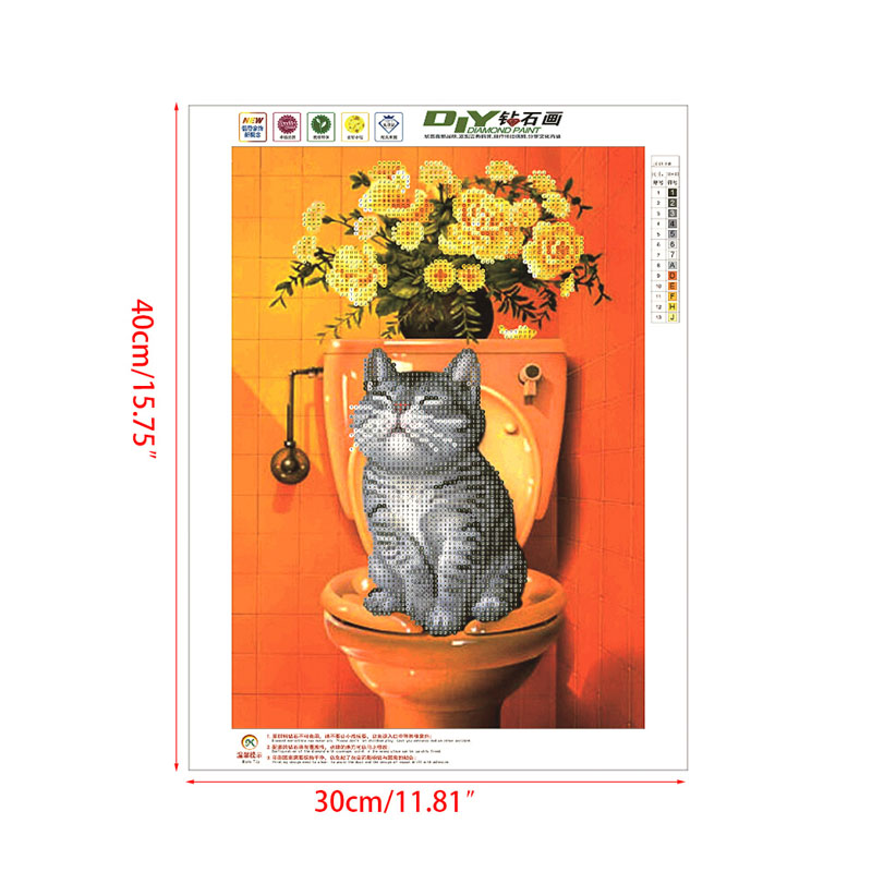 DIY 5D Diamond Painting Cat in Toilet Painting Mosaic Needlework Cross Stitch Home Decor Elf On The Shelf Craft 40cm*30cm