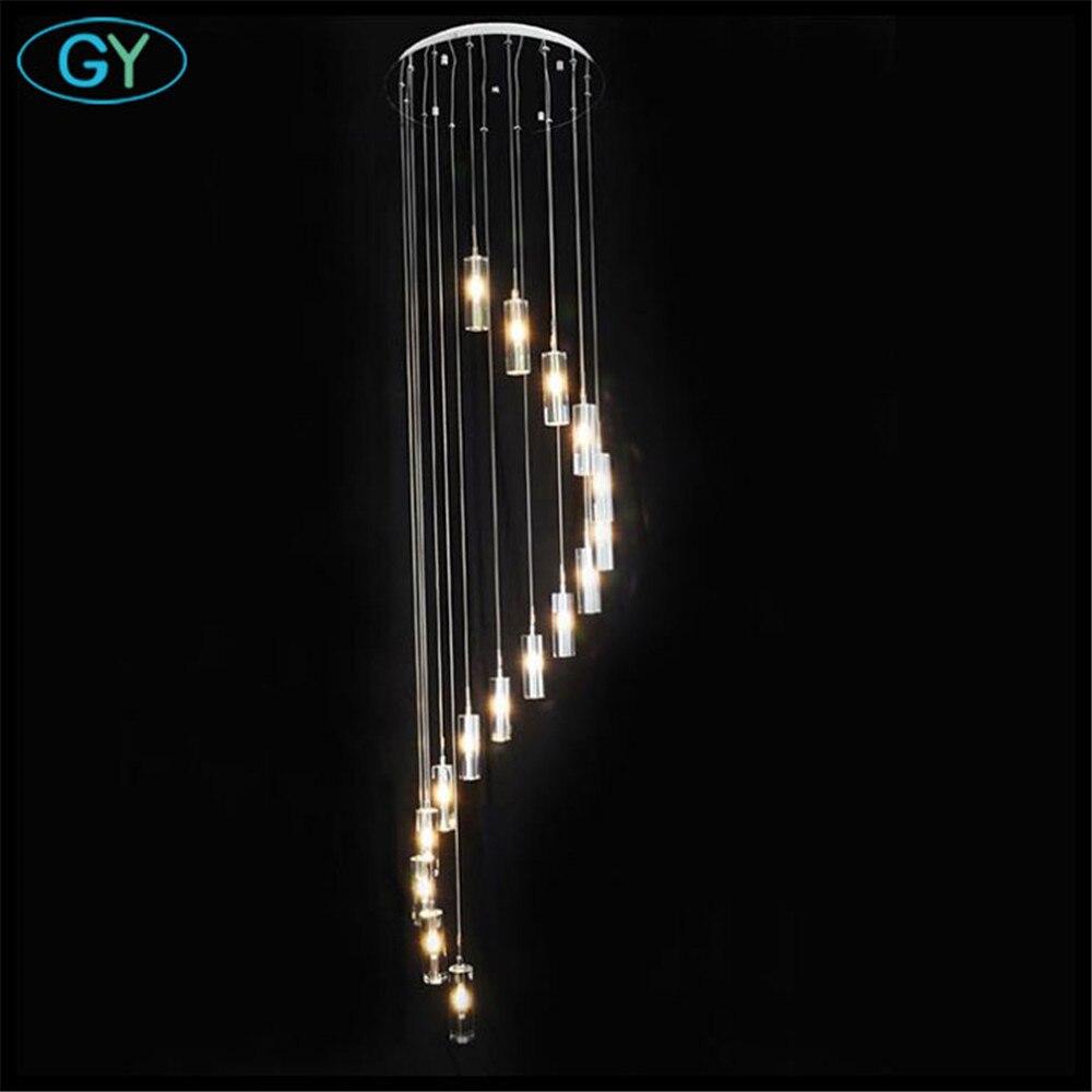 Modern spiral stair chandelier crystal shade d50cm 250cm for Pendelleuchte extra lang