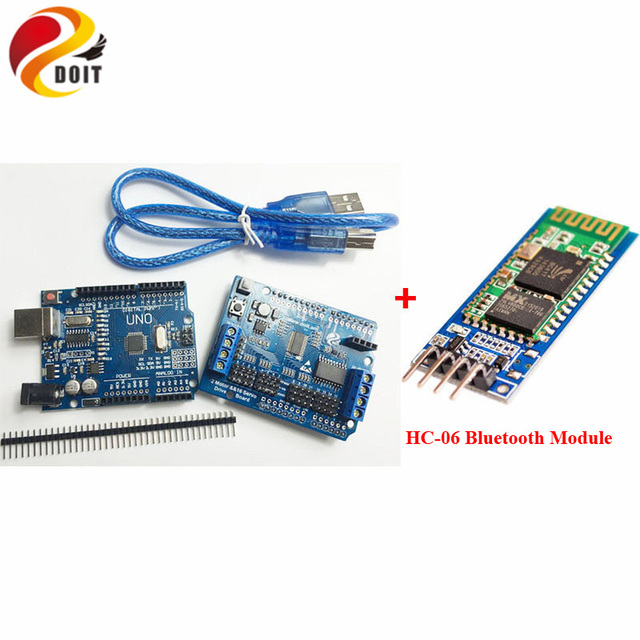 US $19 0 5% OFF|Bluetooth Controller Kit with Arduino UNO R3 Development  Board+Motor Driver Board+HC 06 Module for Robot Tank Car Chassis-in Parts &