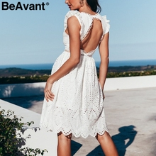 BeAvant Sexy backless white women dresses summer V neck embroidery cotton short dress Elegant ruffle ladies party dresses casual