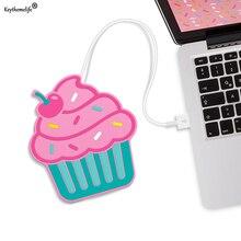 Keythemelife Cute Cupcake форма Электрическая изоляция Coaster USB Теплая чашка Нагревательное устройство Кофе Чай Теплый Pad Placemat 2D