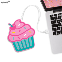 Keythemelife Cute Cupcake shape Electrical Insulation Coaster USB Warm Cup Heating Device Coffee Tea Warm Pad Placemat 2D