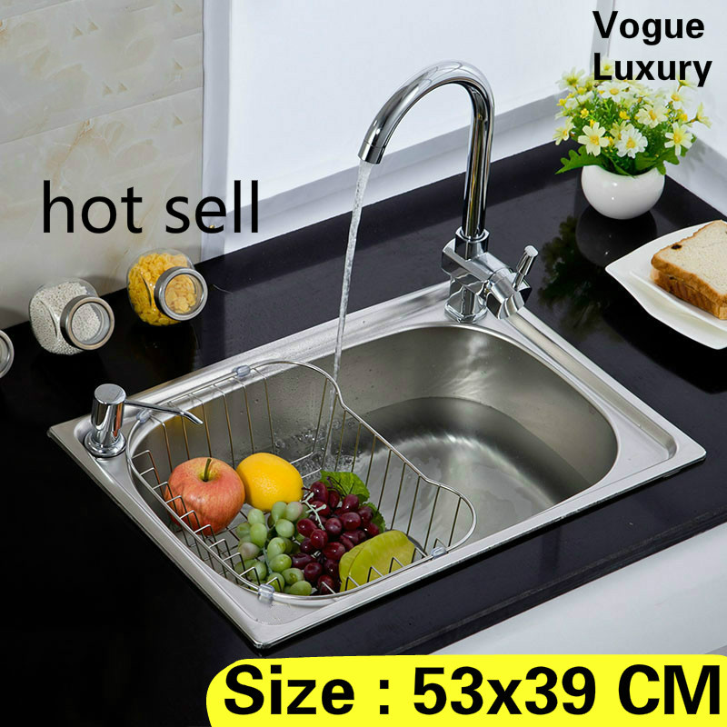 Free shipping Apartment luxury wash vegetables vogue kitchen single trough sink high quality 304 stainless steel 53x39 CMFree shipping Apartment luxury wash vegetables vogue kitchen single trough sink high quality 304 stainless steel 53x39 CM