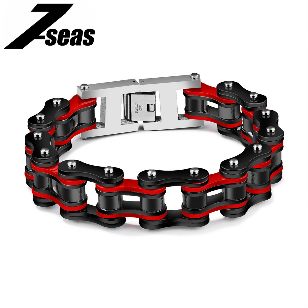7SEAS Cool Biker Bicycle Motorcycle Chain Men's Bracelets & Bangles Fashion 4 Color 316L Stainless Steel Jewelry Bracelet,JM856 sda 24mm width punk 316l stainless steel bracelet men biker bicycle motorcycle chain men s bracelets mens bracelets