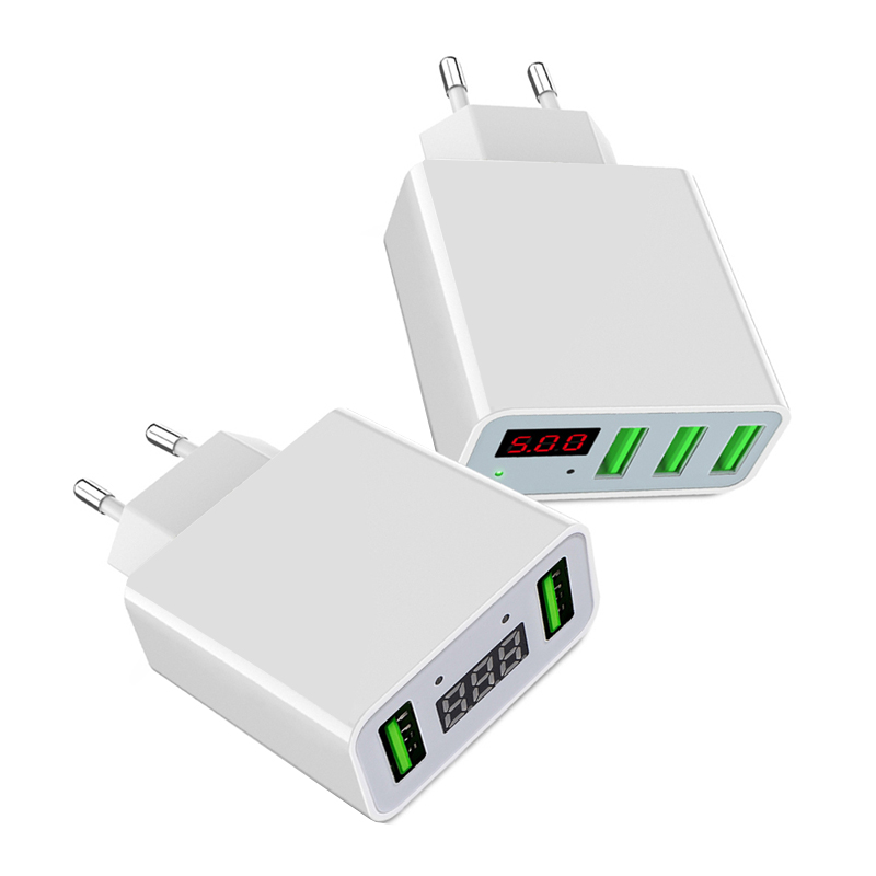5V/3A LED Display Universal Phone USB Fast Charger EU/US Plug USB Charger Smart Charging Wall Charger For iPhone Samsung Xiao