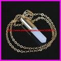 1 PCS Chegam Novas de Ouro 24 k Semi Precious Gems Crystal Clear Ponto Branco Druzy Pingentes Moonstone Colar de 18 polegada-24 polegada
