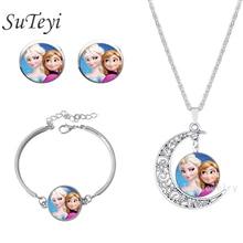 SUTEYI Sets For Women Gold hair Anna silver Elsa girls glass jewelry set friendship pendant bijoux summer style movie jewelry