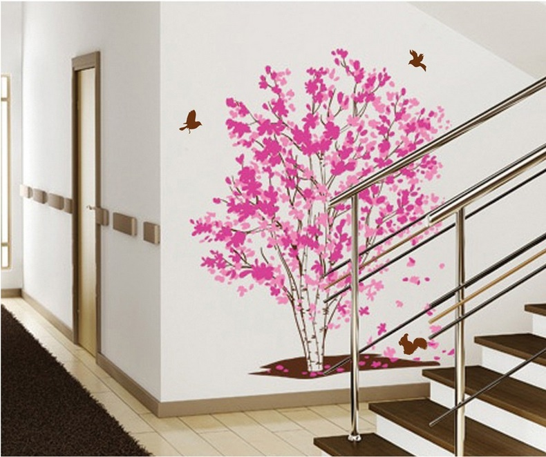 Warm Romantic Pink The Dreaming Tree Birds DIY Removable Wall ...