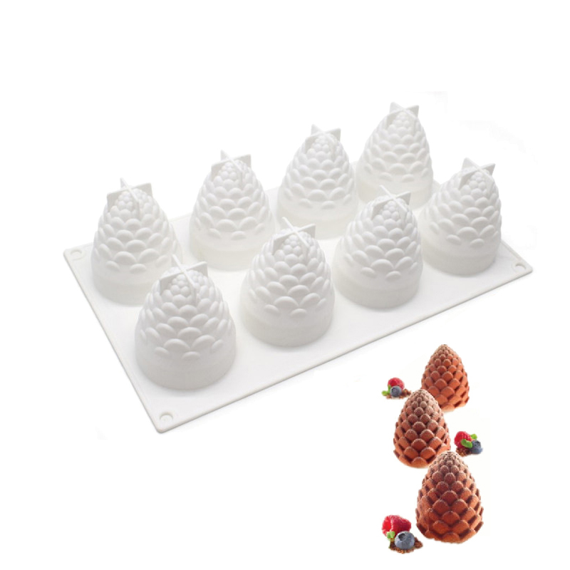 8 Cavities Silicone Cake Mould Pinecones Shape For Baking Cakes Pastry Mousse