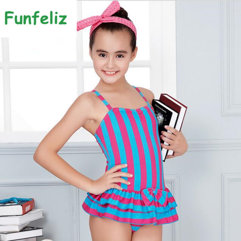 Funfeliz Girls Swimsuit satu keping pakaian renang Striped Swimming Suit dengan Skirt Remaja Girls Swimwear Kids Bathing Suit 7T-15T