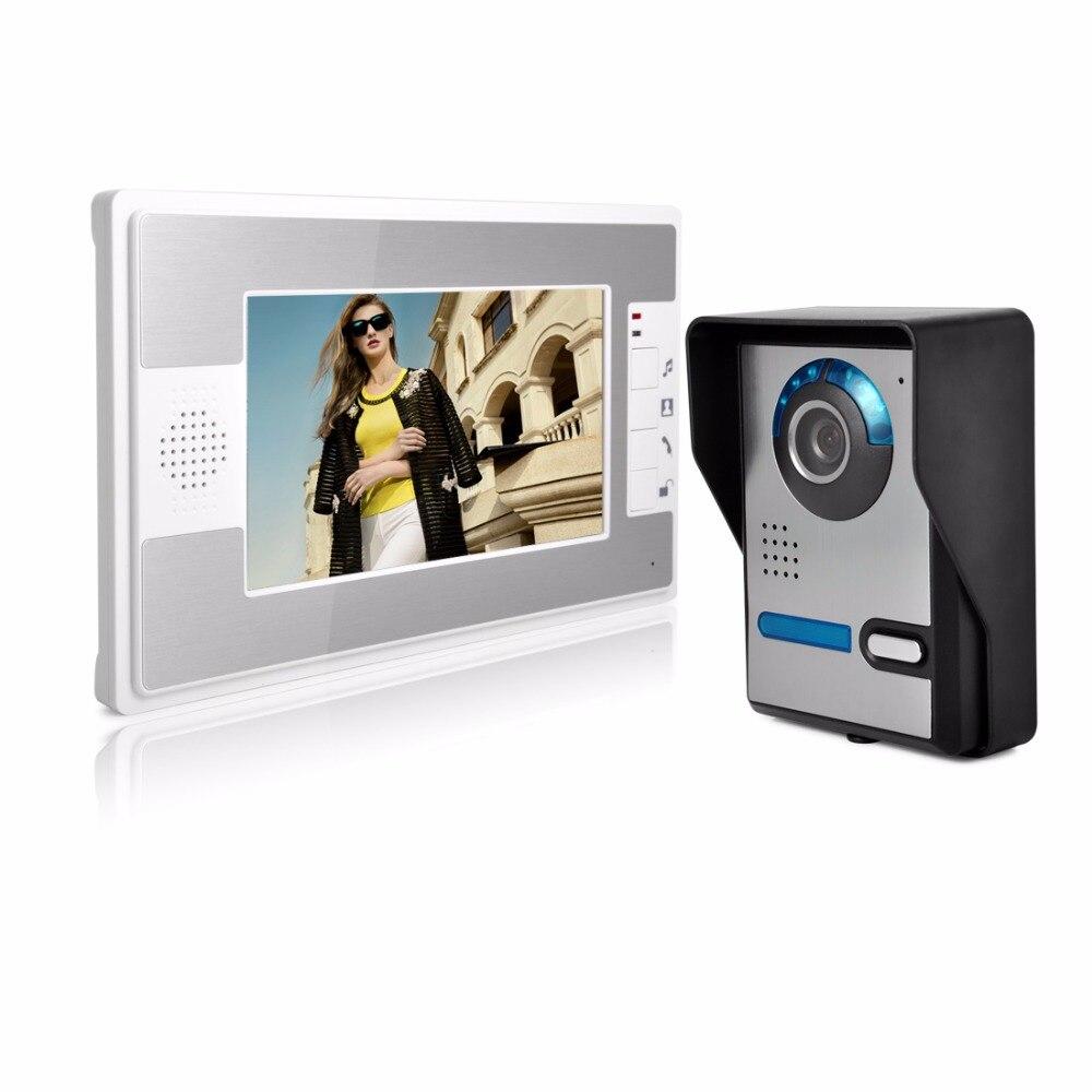 "HD 7"" Color Video Door Phone Doorbell Video Intercom Doorphone IR Night Vision Camera Monitor Kit for Home Security"
